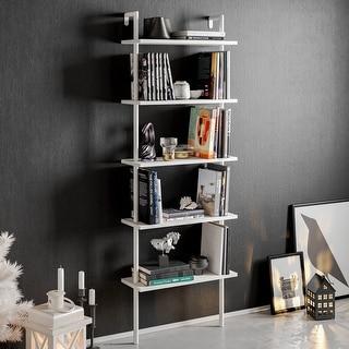 Decorotika Paula 68'' Tall Metal Wood Accent Ladder Bookcase