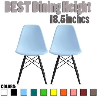 2xhome Set of 2 Modern Side Dining Chair Color with Dark Black Wood Legs For Kitchen Eiffel Dowel Work Office Restaurant