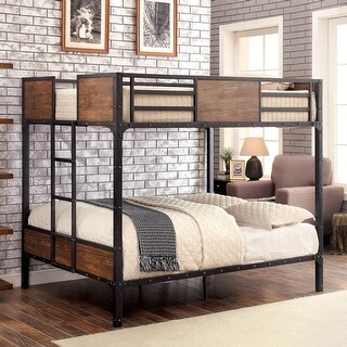 Furniture of America Jown Industrial Black Metal Bunk Bed