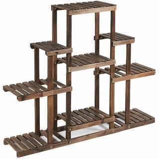 6-Tier Flower Wood Stand Plant Display Rack Storage Shelf - Brown