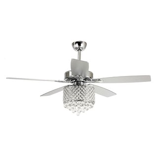 52-inch Chrome LED Crystal 5-Blades Chandelier Ceiling Fan with Remote