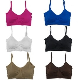 Women's 6 Pack Plus Size Adjustable Straps Padded Scoopneck Wire Free Bralettes Bras