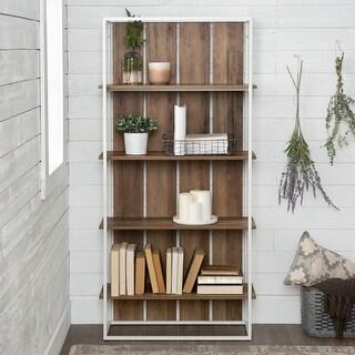 The Gray Barn Barnett Slat Back Bookshelf - White / Reclaimed Barnwood