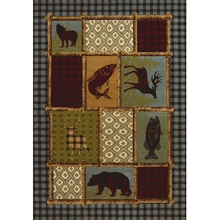 Wildwood Bordered Montage Multi Hand-carved Accent Rug (1'10 x 3') - 1'10 x 3'1