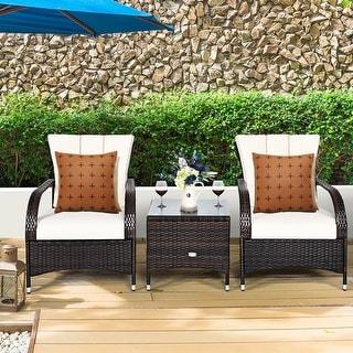 Costway 3PCS Rattan Furniture Set Chair Coffee Table Conversation Set