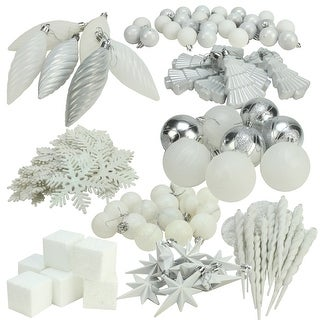 "125ct Winter White and Silver Shatterproof 4-Finish Christmas Ornaments 5.5"" (140mm)"