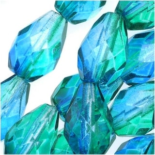 Czech Fire Polished Glass Two Toned Beads 10 x 7mm Teardrop Blue Green (12)