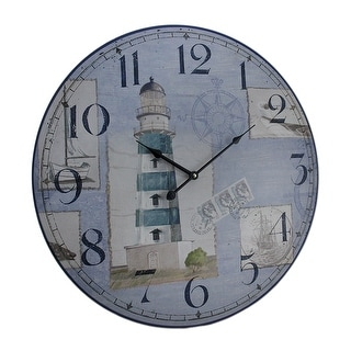 Blue and White Nautical Lighthouse Round Wooden Wall Clock - 23 X 23 X 1.5 inches