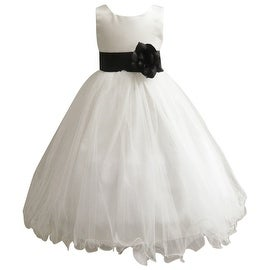 Wedding Easter Flower Girl Dress Wallao Ivory Rattail Satin Tulle (Baby - 14) Black