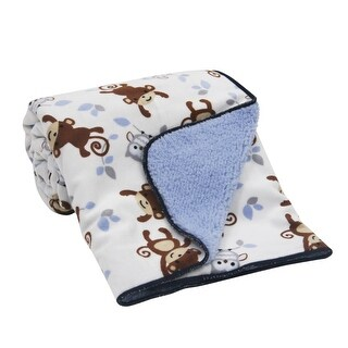 Bedtime Originals Mod Monkey White/Blue Velour Sherpa Soft Baby Blanket