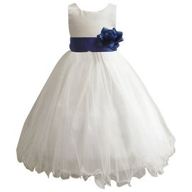Wedding Easter Flower Girl Dress Wallao Ivory Rattail Satin Tulle (Baby - 14) Blue Royal