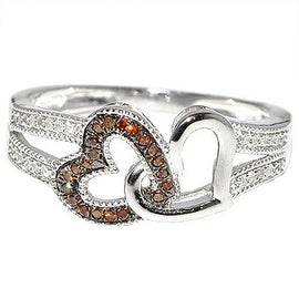Heart Ring twin hearts Cognac and White Diamonds, 10K White Gold 0.15cttw(I/j Color 0.15cttw)