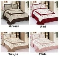 King Size Brown Red Taupe Pink Floral Brand New 3 Piece Quilted Bedspread Quilt Sham