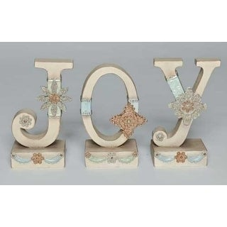 "3pc Ivory Vintage JOY Christmas Tabletop Signs 7.5"""