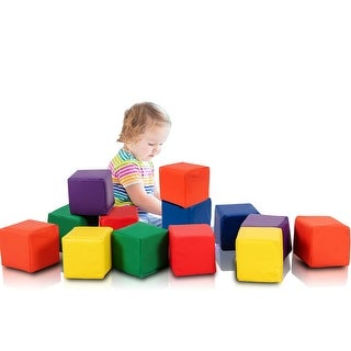 Gymax 12-Piece 5.5'' Soft Foam Building Blocks Colorful Soft Play Set Gift For Toddlers
