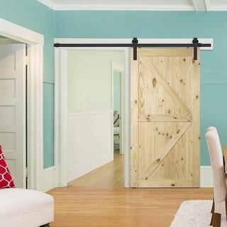 "BELLEZE 42"" x 84"" Natural Pine Unfinished DIY Sliding Barn Door, Arrow - standard"