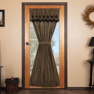 Black Star Door Panel with Attached Scalloped Layered Valance 72x40 - Door Panel with Valance 72x40