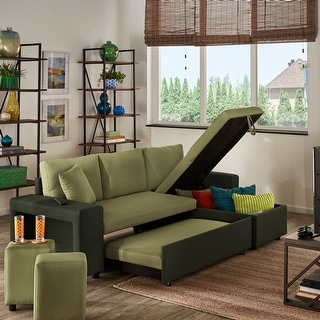 Lorca Two-Tone Convertible Sofa with Storage by iNSPIRE Q Modern