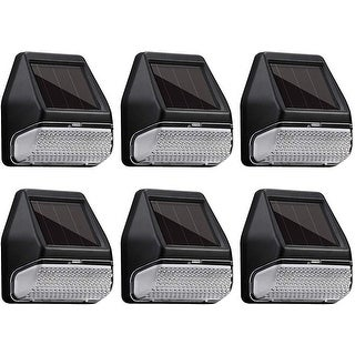 LED Solar-Powered Deck Lights, 4000K Cool White, Pack of 6
