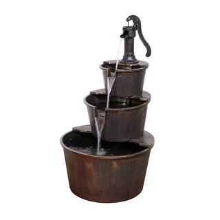 Alpine Corporation 3-Tier Rustic Barrel Outdoor Fountain, 40-Inches