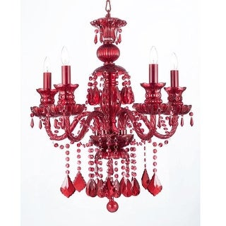 Ruby Red Crystal Chandelier 5-Light