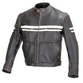 Men Motorcycle Vintage Hand Buffed Leather Armor Jacket Black MBJ031