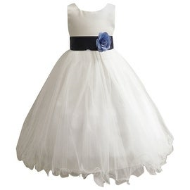 Wedding Easter Flower Girl Dress Wallao Ivory Rattail Satin Tulle (Baby - 14) Blue Navy
