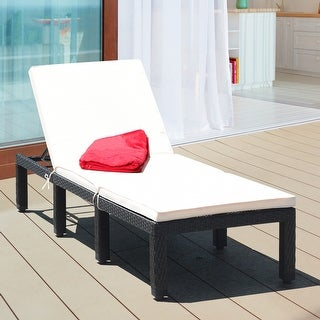 Costway Costway Patio Rattan Lounge Chair Chaise Couch Cushioned