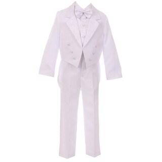 Rain Kids Baby Boys White Guardian Angel Embroidery Baptism Tuxedo Suit
