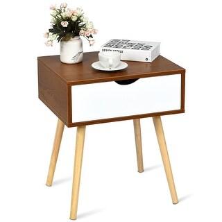Nightstand End Side Sofa Table Storage Drawer Living Room Furni W/Solid Wood Leg