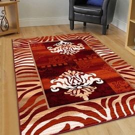 "AllStar Rugs Rust Hand Carved Indian Print Design Area Rug (5' 2"" x 7' 2"")"