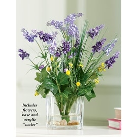 Wisteria Floral Bouquet in Glass Vase