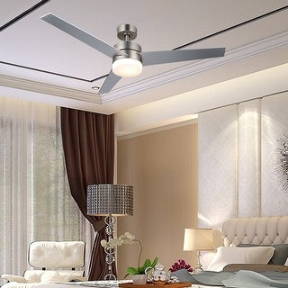 """CO-Z 52"""" 3-Blade Ceiling Fan with Light Kit and Remote Control - Nickel and Old Bronze"""