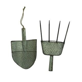 Galvanized Metal Pitchfork and Garden Shovel Wall Planter Set - 18.25 X 11 X 4.25 inches