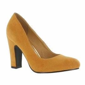 Red Circle Footwear 'Sybil' Chunky Heel Pump in Mustard