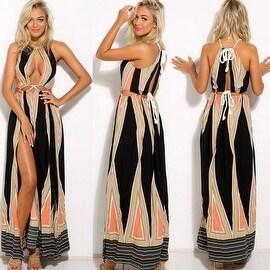 Womens Summer Sleeveless Boho Long Maxi Cut Out High Slit Tank Beach Dress Sundress
