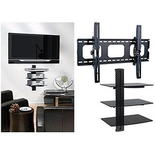 2xhome - TV Wall Mount with 3 Shelves Up to 85 inches Floating Shelf with Strengthened Tempered Glass