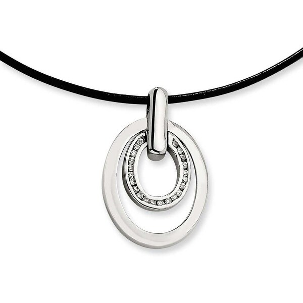 Chisel Stainless Steel CZ Pendant Necklace (2 mm) - 18 in
