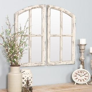 "Jolene Arched Window Pane Mirrors (Set of 2) - White - 27""h x 15""w x 1""d"