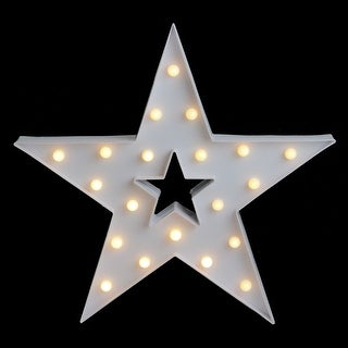 """15"""" White Battery Operated LED Lighted Star Christmas Marquee Sign"""
