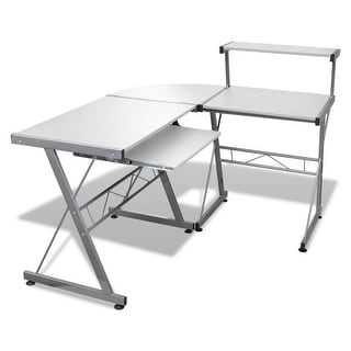 vidaXL Computer Desk Workstation With Pull Out Keyboard Tray White