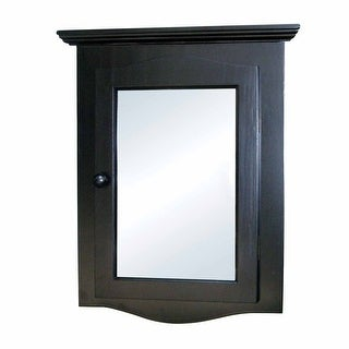 Renovators Supply Mirrored Corner Black Wall Mount Medicine Cabinet Organizer Shelves with Solid Wood Recessed