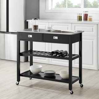 "Chloe Stainless Steel Top Kitchen Island/Cart - 37""H x 42""W x 20""D"
