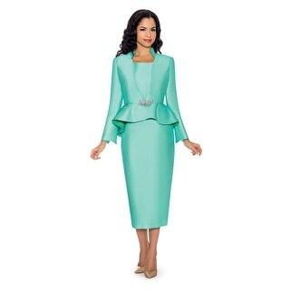 Giovanna Collection Women's 3-piece Peplum Virtual Silk Skirt Suit