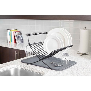 """Umbra 1009253-149 Xdry 20"""" x 20"""" Steel Dish Rack with Drying Mat - Charcoal"""