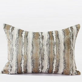 "Gentille Home Collection Luxury Light Gold Mix Color Stripe Pattern Metallic Chenille Pillow 14""X20"""
