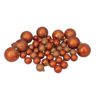"125ct Burnt Orange Shatterproof 4-Finish Christmas Ornaments 5.5"" (140mm)"