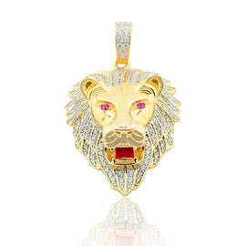 Lion Face Charm Mens Fashion Pendant 48mm Tall Yellow Gold-Tone Silver