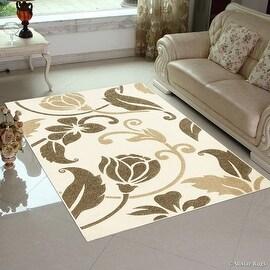"Cream AllStar Rugs Floral Design Modern Geometric Area Rug (5' 2"" x 7' 2"")"