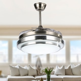 Porch & Den Tigard Round 36-inch LED Retractable Ceiling Fan with Remote